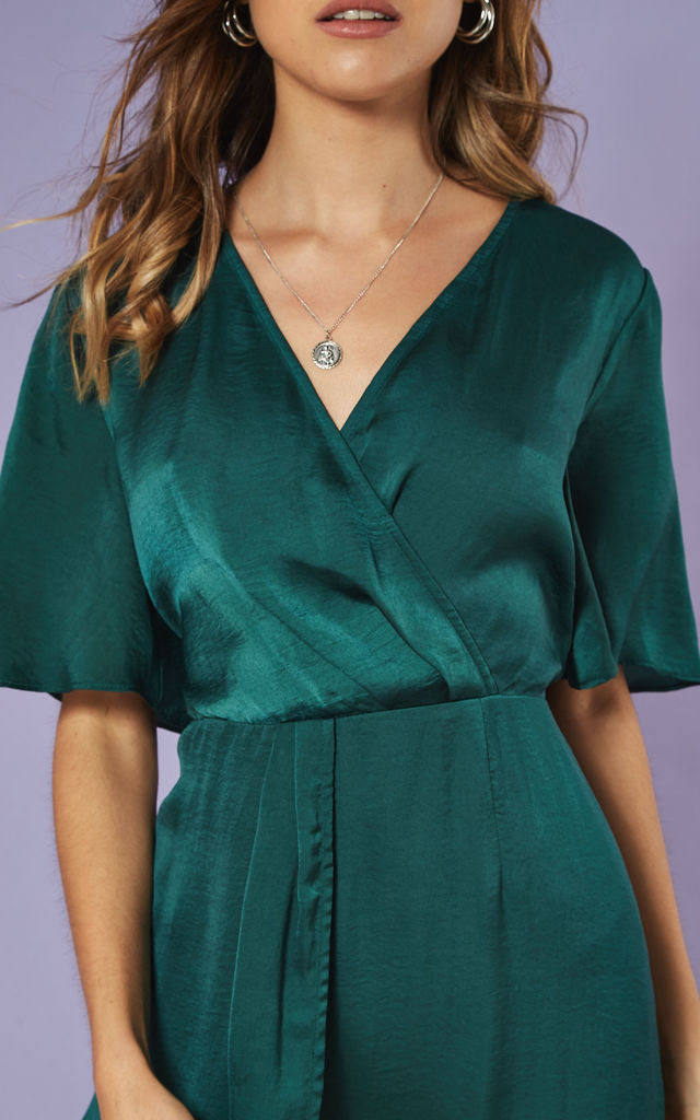 Satin Wrap Front Midi Dress in Emerald by Glamorous