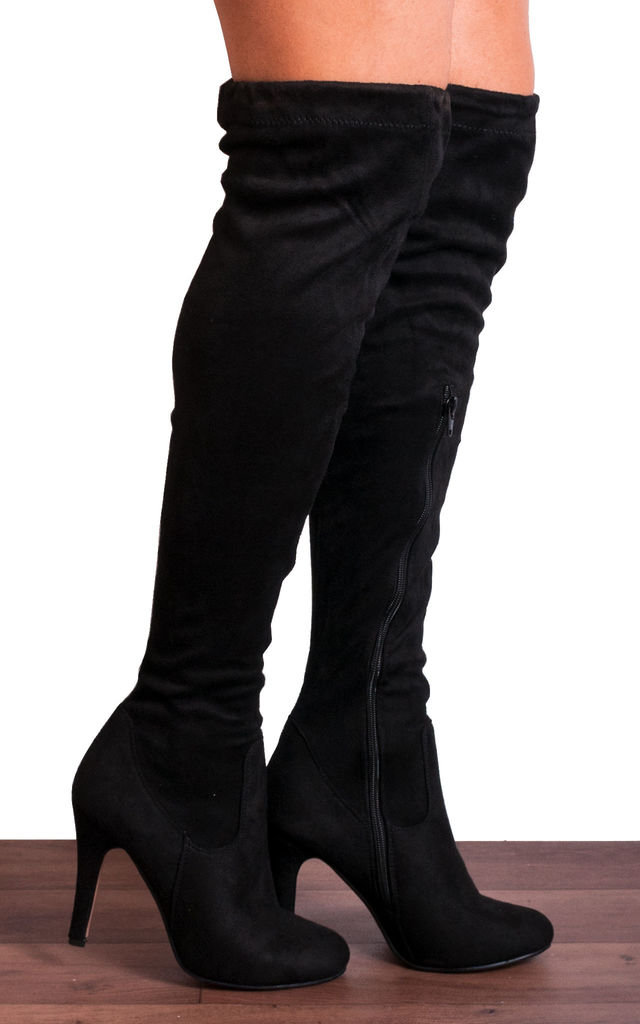 Black Over the Knee Sock Stretch Tie Boots Stilettos High Heels by Shoe Closet