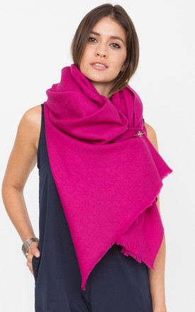 Merino Wool Blanket Scarf & Oversized Pashmina  In Fuchsia Pink by likemary Product photo