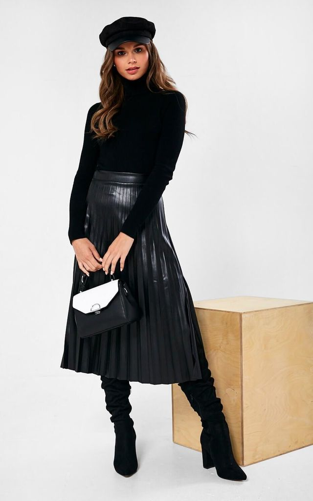 Faux Leather Pleated Skirt in Black by Marc Angelo