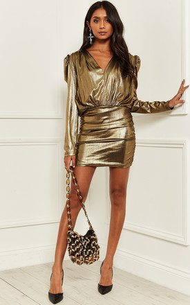 Mini Dress With Long Sleeves And V Neck In Gold by Bella and Blue Product photo