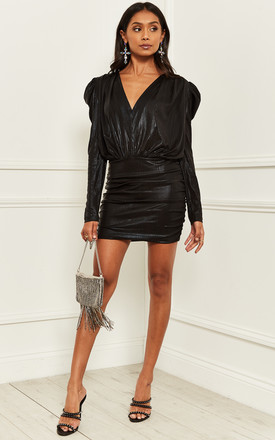 Mini Dress with Long Sleeves and v-neck in black by Bella and Blue
