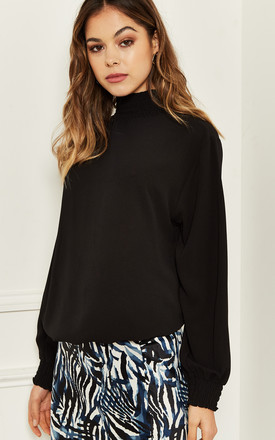 Ruched Neck Long Sleeve Blouse In Black by Bella and Blue Product photo