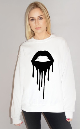 Black Drip Lip Jumper In White by Sade Farrell