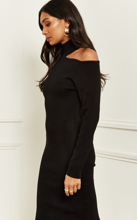 Cut Out Shoulder midi Dress in Black by Bella and Blue