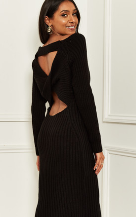 Knitted Bardot Midi Dress With Back Detail In Black by Bella and Blue Product photo
