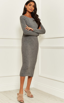 Knitted Bardot Midi Dress With Back Detail in Grey by Bella and Blue