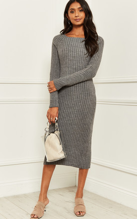 Knitted Bardot Midi Dress With Back Detail In Grey by Bella and Blue Product photo