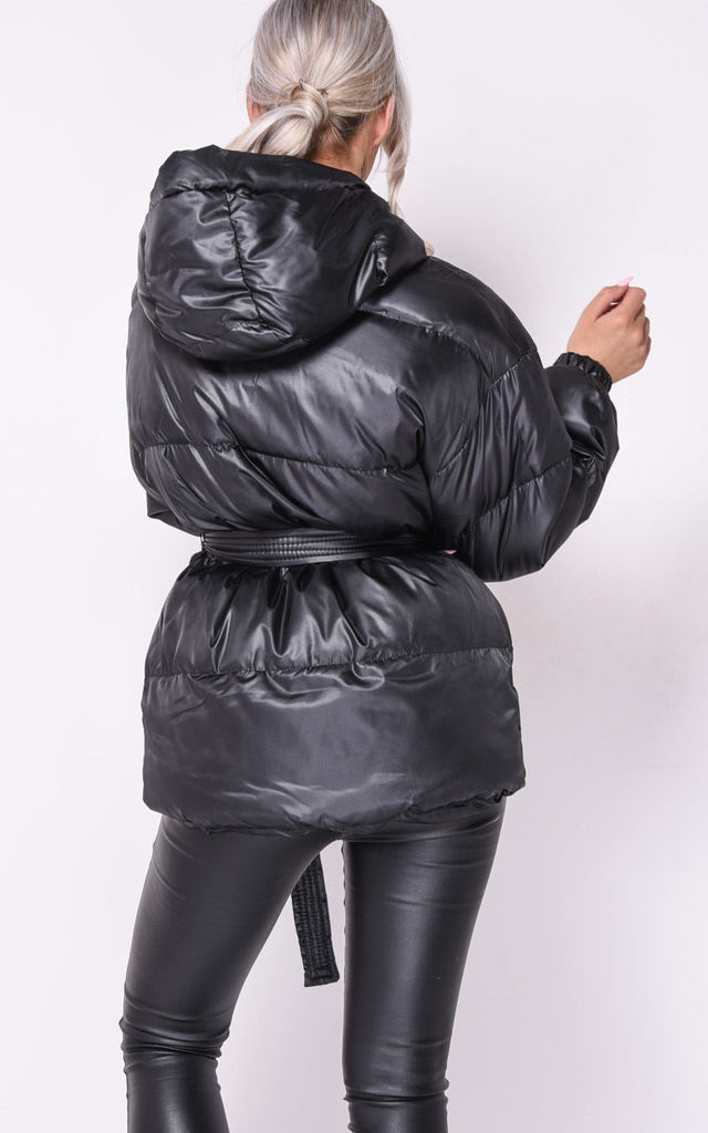 Puffer Jacket in Wet Look Black With Belt by LILY LULU FASHION