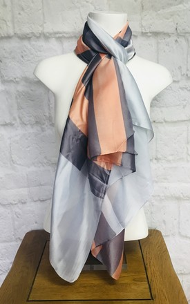 Silky Scarf In Grey And Peach Check by Pink Lemonade Boutique Product photo