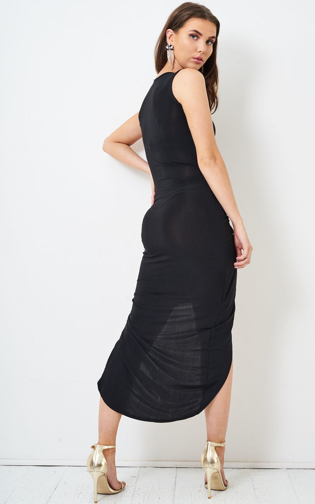 Saskia Ruched Slinky Black Dress by love frontrow