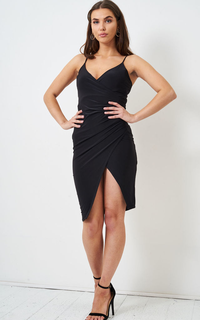 Nadyia Wrap Effect Slinky Black Dress by love frontrow