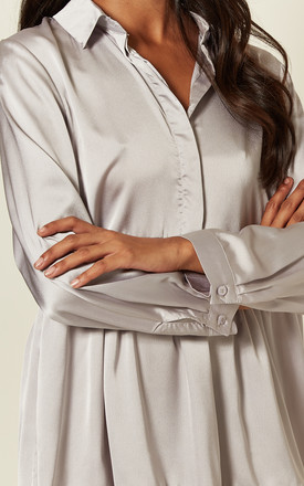 Silver Grey, Satin Feel Oversized Shirt Dress With Flowy Layered Detail by Off The Railz
