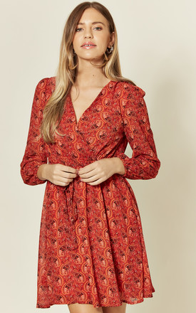 Red Paisley floral V Neck Long Sleeve Wrap Dress by TENKI LONDON