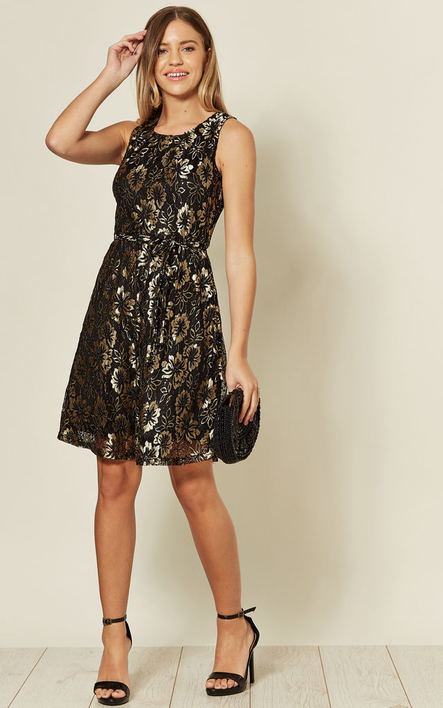 Gold Black Contrast Flower Skater Lace Party Dress by TENKI LONDON