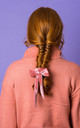 ELLA VELVET BOW HAIR TIE -  Dusky Pink by Crown and Glory