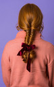 ELLA VELVET BOW HAIR TIE - Wine by Crown and Glory