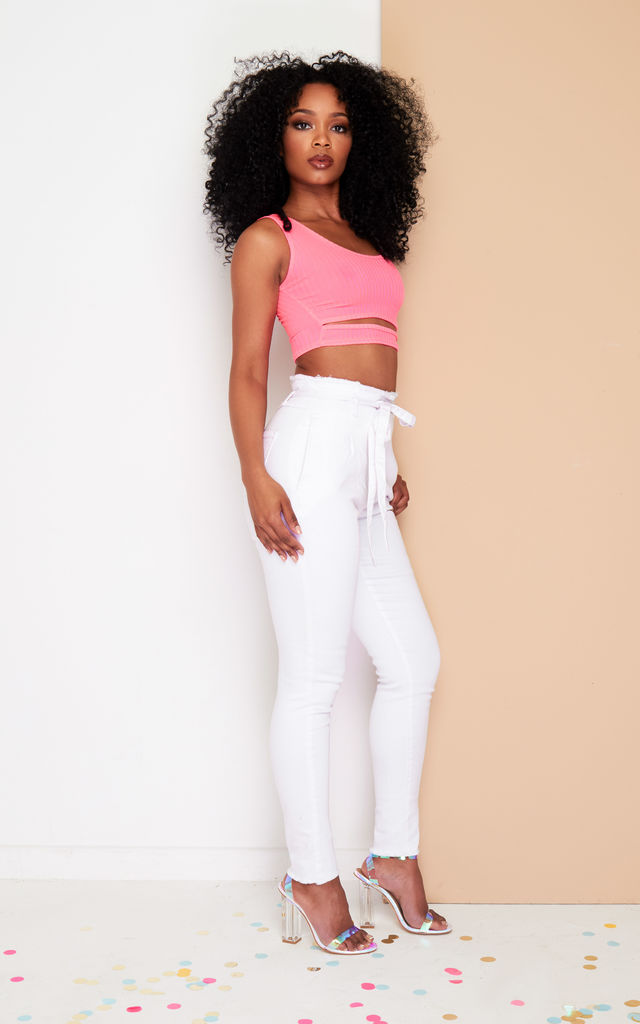 Skinny Jeans in White with Paper Bag Detail by DX BOUTIQUE