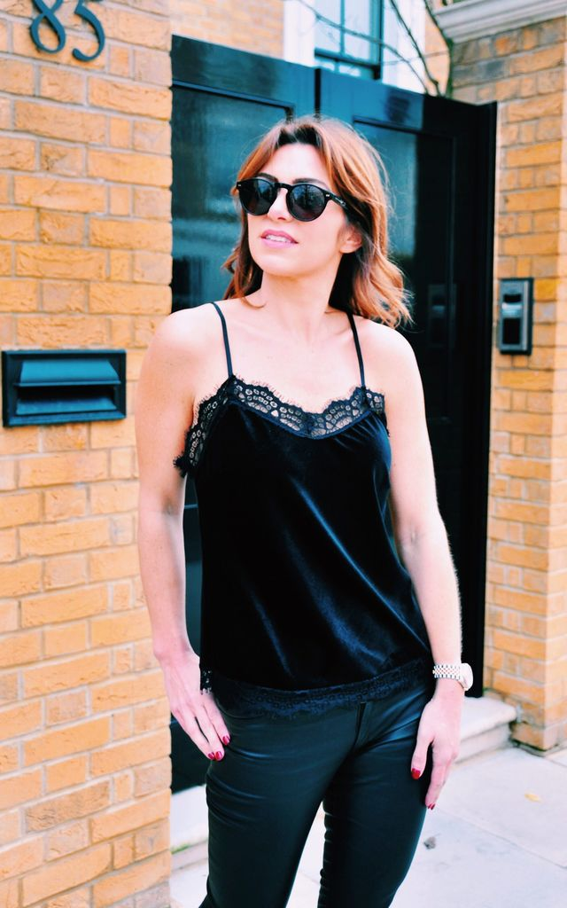 ATHENA CAMISOLE in black velvet by Libby Loves