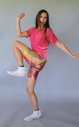 Bike Shorts in 80's Print Lycra by Get Crooked