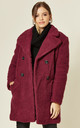 Janine Teddy Coat in Fuchsia With Double Breasted Fit by De La Creme Fashions