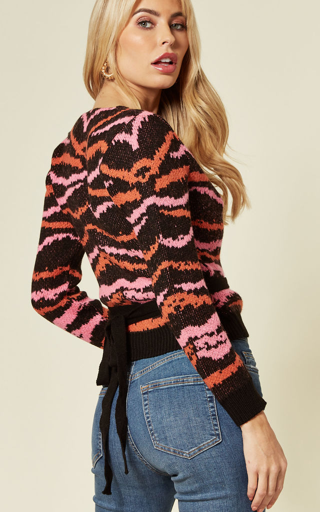 Wrap Jumper in Pink And Orange Zebra Print by Cara & The Sky