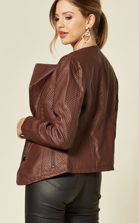 Biker Jacket in Brown Faux Leather by Lilura London