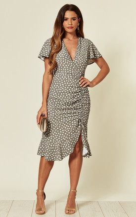 Drawstring Ruched Midi Dress In Grey Animal Spot by Love Product photo