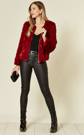 Burgundy Faux Fur Collarless Coat by Mela London