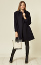 Lisa Navy Wool & Cashmere Swing Coat by De La Creme Fashions