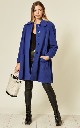 Lisa Royal Blue Wool & Cashmere Swing Coat by De La Creme Fashions