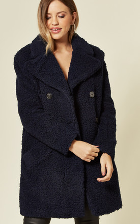 Janine Teddy Coat In Navy With Double Breasted Fit by De La Creme Fashions Product photo