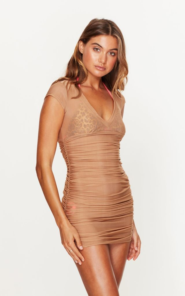 Ruched Beach Dress in Gold by Toria Tonia