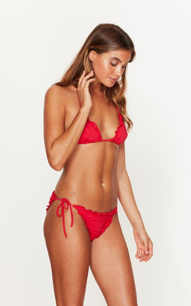 Ruffle Tie Side Bottoms in Red by Toria Tonia