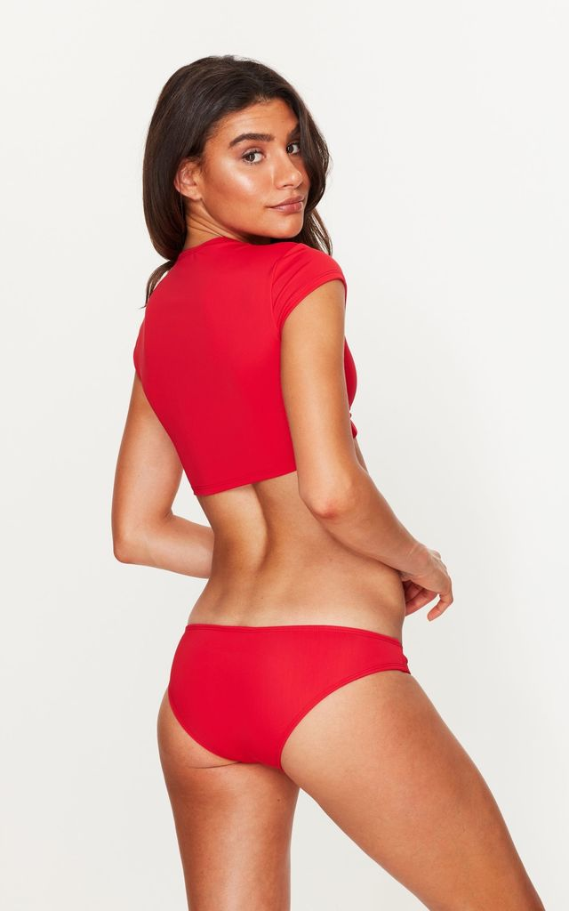 Tie Front Crop Top in Red by Toria Tonia