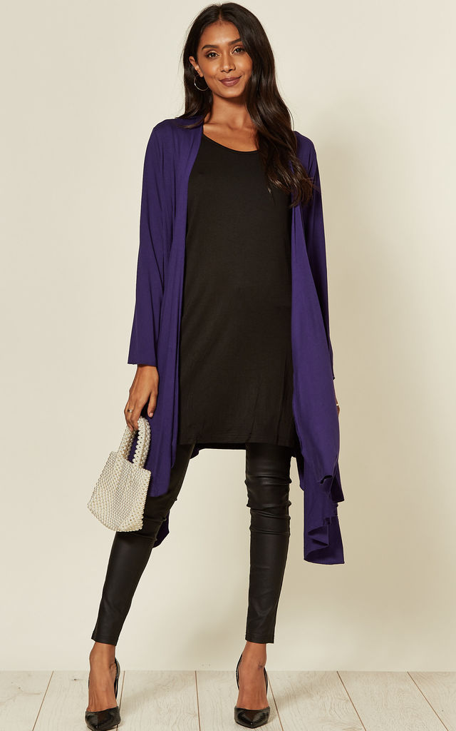 Jersey Waterfall Cardigan in Purple by Malissa J Collection