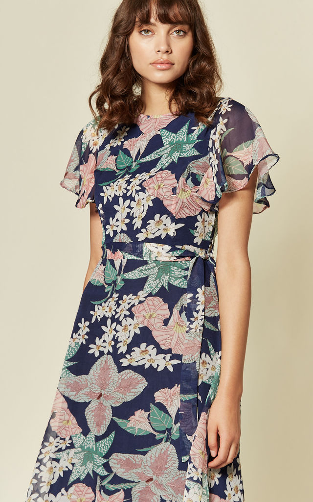 Navy  Floral Print Waist Tie Skater Midi Dress by MISSTRUTH