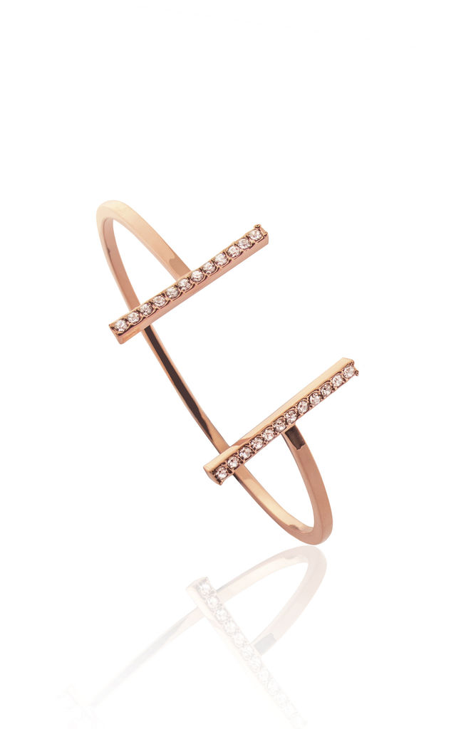 DECO CRYSTAL BAR BANGLE ROSE GOLD by Belle & Beau