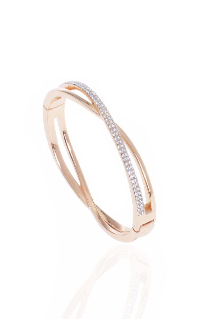 CRYSTAL PLAIT BANGLE ROSE GOLD by Belle & Beau