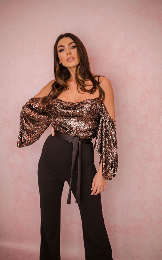The Kiara Sequin Drop Shoulder Jumpsuit Rose Gold by Rag & Doll