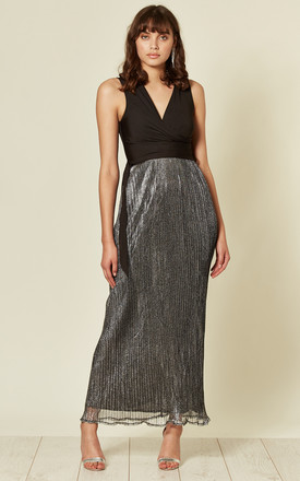 Metallic Pleated Wrap Front Maxi Dress by Mela London
