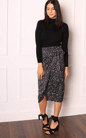 Satin Wrap Midi Skirt in Black & White Polka Dot by One Nation Clothing