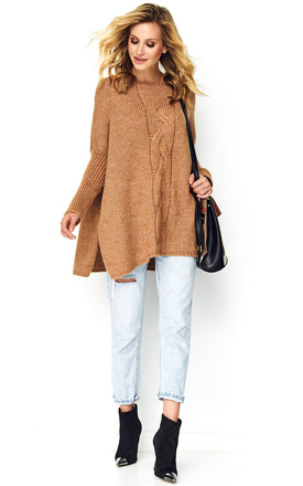 Oversized Jumper With Slits On Side In Camel by Makadamia Product photo