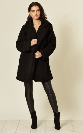 Black Oversize Teddy Winter Coat Jacket by TENKI LONDON Product photo