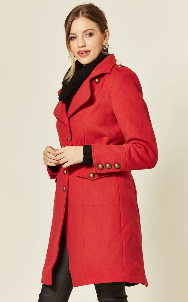 Naomi Red High Neck Belted Coat by De La Creme Fashions
