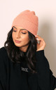 Fisherman Ribbed Turn Up Beanie in Pink by One Nation Clothing