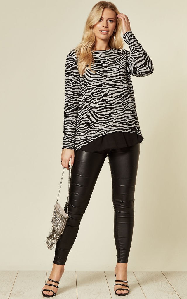 Black Grey Zebra Long Sleeve Sweater Jumper Top with Chiffon Lining by TENKI LONDON
