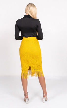Midi skirt with tassels in mustard by Miss Attire