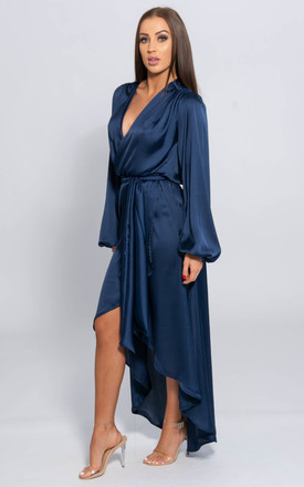 Christina Navy Satin Long Sleeve Maxi Wrap Dress by SHE BY SOPHIE
