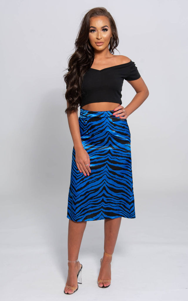 Kara Blue Satin Midi Length Slip Skirt by SHE BY SOPHIE
